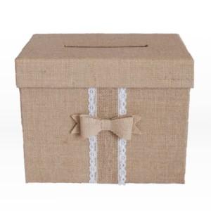 Burlap envelop box